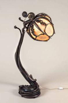 Blacksmith made furniture by Red Metal, lamp.
