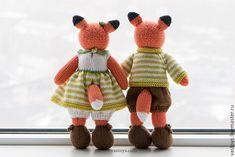 Купить Семья оранжевых лис - вязаный, игрушки, семья, Василиса, романова, коллекционный, дети, арт