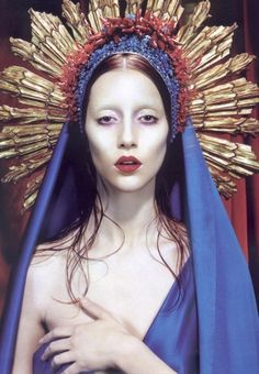 Immaculee #8221;  Numéro 2007, #83   photographer: Miles Aldridge Alana Zimmer religious shoot pale Virgin Mary, blue veil, red peppers, gold, saintly rays of light