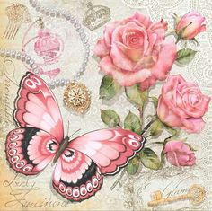 Beautiful butterfly and roses