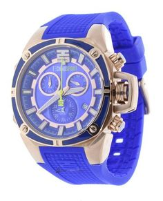 Technosport TS-100-S16 Unisex Watch Electric Blue Chronograph Rose Gold Stainless Steel Case