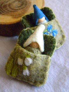 Sleeping Gnome Baby in Snowdrops Pouch Spring Toy by MamaWestWind, $16.50