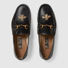 1e23b85da Gucci Leather loafer with bee Detail 3 Gucci Loafers Mens, Gucci Horsebit  Loafers, Mens