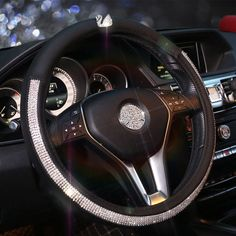 $22.75 Elegant Swan Diamond PU Leather Auto Car Steering Wheel Covers 15 inch 38CM - Black White, Selected high-grade PU Leather, diamonds, do not fall off, Inner ring using Natural rubber, Green, No stimulation, Non-Slip, Excellent breathability, pest control, sterilization, anti-static, Easy to clean, no deformation, high wear resistance, Four Seasons General.
