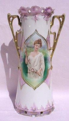 R S Prussia - Lady Portrait Vase