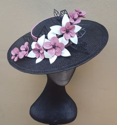 Millinery By Mel design Black Boater with handmade leather flowers