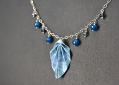 Blue paper origami leaf short necklace on sterling by MunPaperi