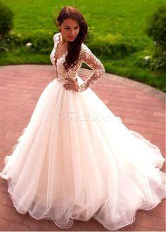 Robe de mariée a-ligne dentelle jardin/en plein air de traîne courte avec manche - photo 1