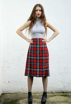 #Vintage #Pleated Midi #Tartan #Kilt Skirt UK 10 #asosmarketplace