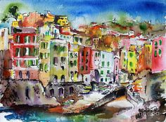 Italy Painting - Riomaggiore Cinque Terre by Ginette Callaway