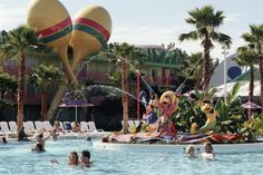 Disney Resort Hotels, Disney's All-Star Music Resort - Guests In Pool, Walt Disney World Resort