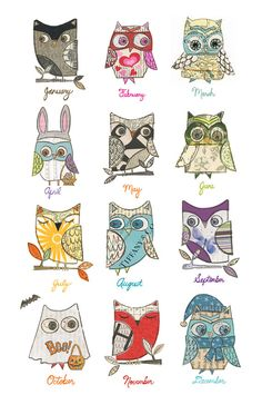 {an owl for every month} 2012 calendar