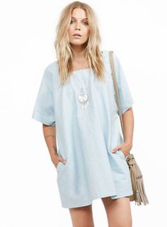 Casual Square Neck Half Sleeve Loose fit Dress
