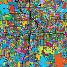Atlanta Colorful Vector Map on Black by Hebstreits #stockimage #design #map #colorful #vector