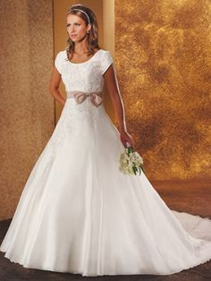 A-Line Ball Gown Princess Jewel Cap Sleeve Satin Taffeta Wedding Dress  $379