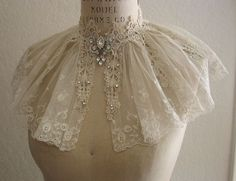vintage victorian lace collar with jeweled brooch
