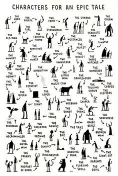 Characters for an Epic Tale by Tom Gauld.  A letterpress print, signed and numbered in an edition of 150 copies.  Printed by Buenaventura Press, 2009. 24 x 32cm, printed in two colours on Hahnemühle mould-made Ingres paper.  SOLD OUT