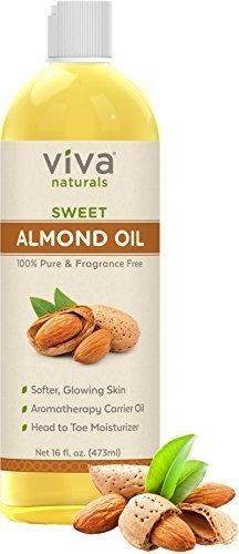 Viva Naturals Sweet Almond Oil Hexane Free for Skin and Hair 16 oz / 473 ml