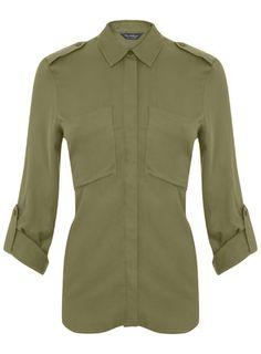 Khaki Twill Utility Shirt