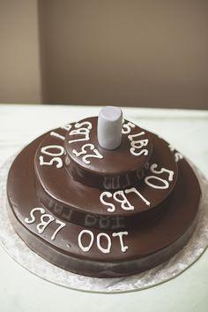 Confederate Hills Recreation Center Wedding | Richmond, Virginia Wedding | Groom barbell weightlifting cake