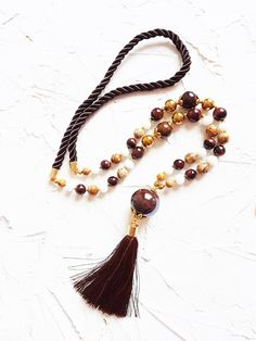 Long tassel necklace, Brown necklace, Tiger eye necklace, Picture jasper necklace, Gold necklace, White necklace, Rope necklace, Womens gift by GentleColorsJewelry on Etsy