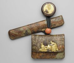 Tobacco-pouch and pipecase with embossed designs; netsuke; kanamono; ojime | Museum of Fine Arts, Boston