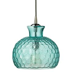 "Curvaceous in shape, the Jamie Young Clark pendant expresses modern style. On a transparent aqua glass silhouette, textured hexagons form an alluring pattern. Accepts one 60W max bulb (not included) and features a one-way socket; Cloth cord, silver ceiling cap and backplate included; Hardwired; 10"" Dia x 10""H; Ceiling cap: 5"" Dia; Cord: 8'L"