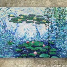 "Original Acrylic painting Claude Monet's Water Lilies ""Giverny 2"" Huge wall art on canvas by KSAVERA decor for Lounge sleeping room bedroom by KsaveraART on Etsy https://www.etsy.com/listing/195014068/original-acrylic-painting-claude-monets"