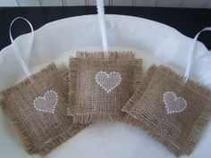 Embroidered Burlap Lavender Sachets - Set of 3 Hearts. $12.00, via Etsy.