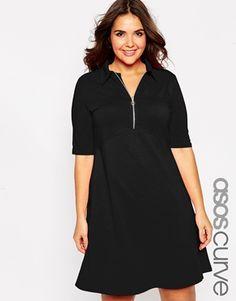 ASOS CURVE Polo Skater Dress With Collar & Zip