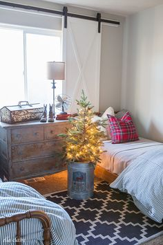 My Boys' Room for Christmas | Red and Blue Plaid