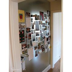 Magnetic Wall Tutorial - sheet metal cut to specifications by metal shop and edges wrapped. Attached to wall with sheet metal screws. Sheet Metal Wall, Metal Walls, Metal Projects, Home Projects, Picture Wall, Photo Wall, Picture Frames, Magnetic Wall, Magnetic Boards