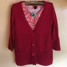 Red Twenty One Sweater New with tags. Red sweater, button down. 3/4 sleeves. Beautiful sweater. Twenty One Sweaters Cardigans
