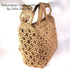 Macrame Bag Dance Of Leaves woman beige lace braided por makrame, $145,00