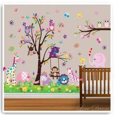 Monkey Wall Stickers For Nursery Uk : Owl Tree Wall Stickers Animal Sticker  Elephant By Love Part 82