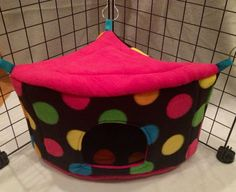 Mod polka dot corner casita with pretty pink roof and interior for shy guinea pigs | $26 via Etsy