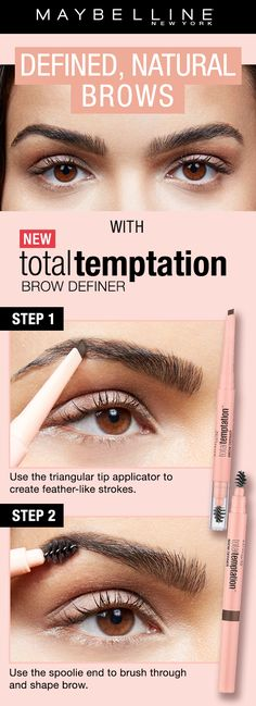 natural eyebrows Fill in and shape eyebrows with this must-have mechanical eyebrow pencil. Also, discover more of Total Temptation, Maybelline's most addictive makeup collection. Eyebrow Kits, Eyebrow Pencil, Eyebrow Makeup, Skin Makeup, Makeup Brush, Eyebrow Wax, Eyebrow Grooming, Make Up Dupe, Eye Make Up