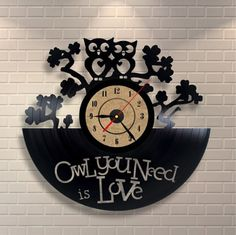 Owl Vinyl Record Wall Clock