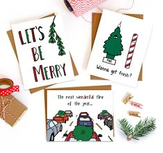 Shop for playfully sweet and sassy stationery and gifts, illustrated and made in the USA. We also offer gifts such as enamel pins, stickers and more. Christmas Card For Girlfriend, Funny Christmas Cards, Holiday Cards, Christmas And New Year, Christmas Trees, New Year Card, Free Stickers, Papers Co, Back Home