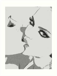 Art Discover Girls gone Wild sexy lesbians kissing BW Art Print by sexyjustsexy Cute Lesbian Couples, Lesbian Art, Lesbian Love, Kissing Drawing, Lesbians Kissing, Sexy Drawings, Arte Pop, Dope Art, Erotic Art