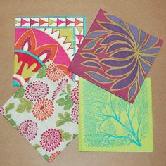 Decoupage Crimson and Green Set - 4 Paper Napkins for Decoupage, Collage, Scrapbooking and Paper Craft Projects