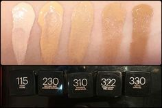 Maybelline Fit Me Foundation Matte + Poreless Swatches, Shades & Review (L-R) 115 Ivory, 230 Natural Buff, 310 Sun Beige, 322 Warm Honey, 330 Toffee Caramel