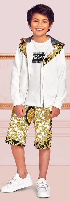cbb76a30ed18 Love this Young Versace Boys EID White BAROCCO Zip-Up Shirt & Gold Print