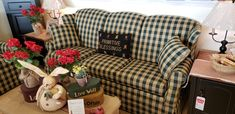 Hi-backed green and tan country sofa Country Sofas, Country Furniture, Brothers Furniture, Primitives, Home Furnishings, Couch, Decorating, Green, Home Decor