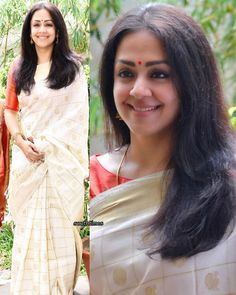 Jyothika at a saree exhibition by Tulsi Silks. Kerala Saree Blouse Designs, Saree Blouse Patterns, Designer Blouse Patterns, Indian Silk Sarees, Indian Beauty Saree, Tulsi Silks, Saree Jewellery, Silver Jewellery, Saree Dress