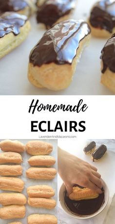 These melt-in-your-mouth Chocolate Eclairs are made from scratch. Theyre puffy and filled with sweet vanilla custard cre Donut Recipes, Pastry Recipes, Baking Recipes, Dessert Recipes, Mini Desserts, Delicious Desserts, Dessert Logo, Chocolate Eclair Dessert, Chocolate Eclairs