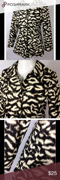 "(M) Animal Print SANDRO Button Down Rain Coat (M) Womens Animal Print SANDRO Jacket | Button Down Lined Rain Coat  Lined 2 Pockets no belt  Great Condition   Shoulder 15"" Chest 36"" Waist 34"" Sleeves 24"" Length 28""  B504 Sandro Jackets & Coats"