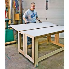 Woodworking Designs Folding Assembly Table Woodworking Plan from WOOD Magazine - Use it. Then store this table in a minimum of space. Woodworking Bench Plans, Woodworking Basics, Woodworking Patterns, Woodworking Furniture, Woodworking Shop, Woodworking Projects, Woodworking Classes, Wood Projects, Woodworking Quotes