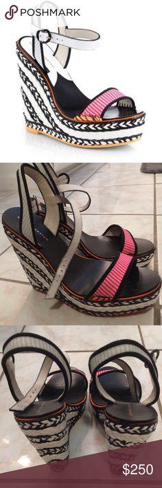 Sophia Webster Lucita Wedges Black, white, pink, orange & baby blue espadrilles wedges. Only worn once, like new Sophia Webster Shoes Wedges