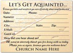 Welcome Visitor Postcard for Church